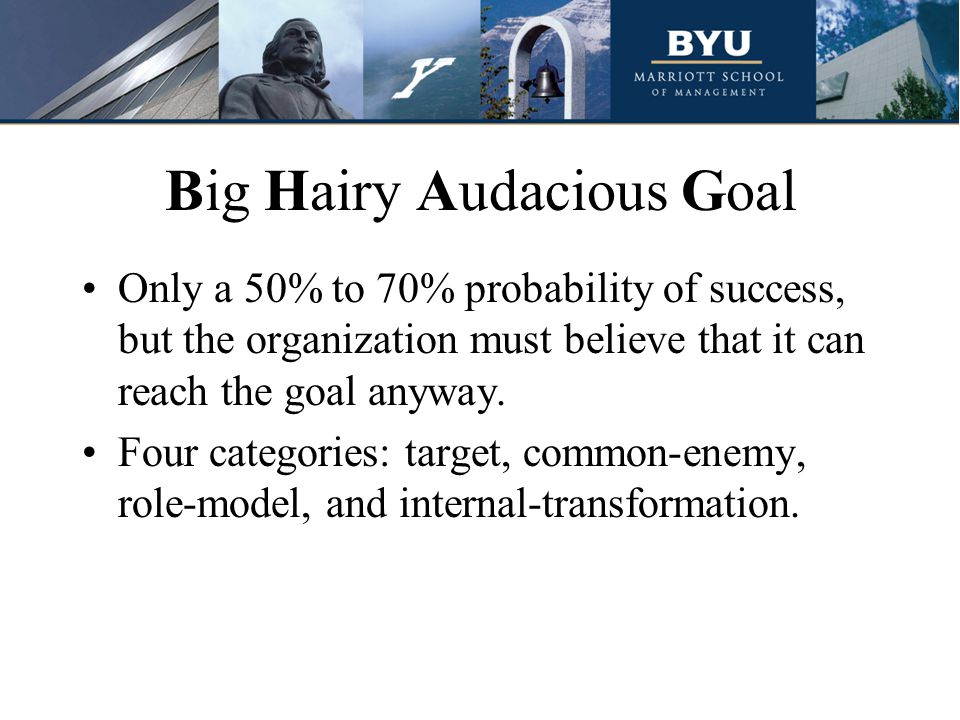 Big Hairy Audacious Goal Only a 50% to 70% probability of success, but the organization must believe that it can reach the goal anyway.