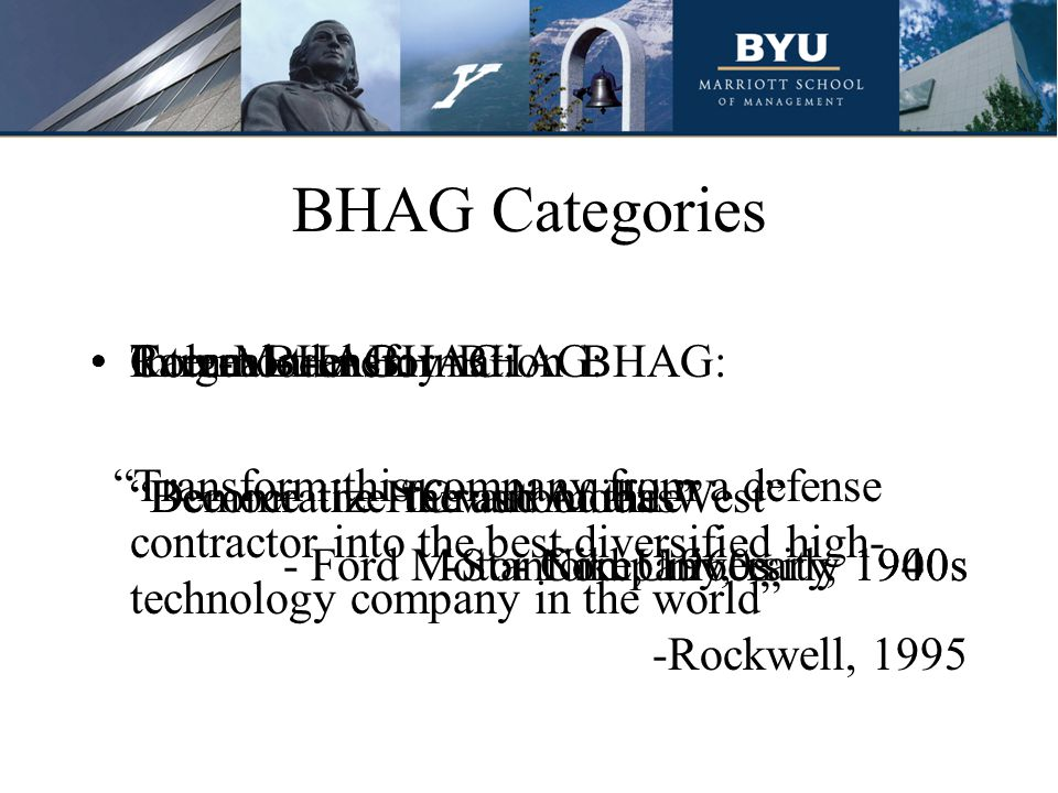 BHAG Categories Target BHAG: Democratize the automobile - Ford Motor Company, early 1900s Common-enemy BHAG: Crush Adidas - Nike, 1960s Role-Model BHAG: Become the Harvard of the West -Stanford University, 1940s Internal-transformation BHAG: Transform this company from a defense contractor into the best diversified high- technology company in the world -Rockwell, 1995