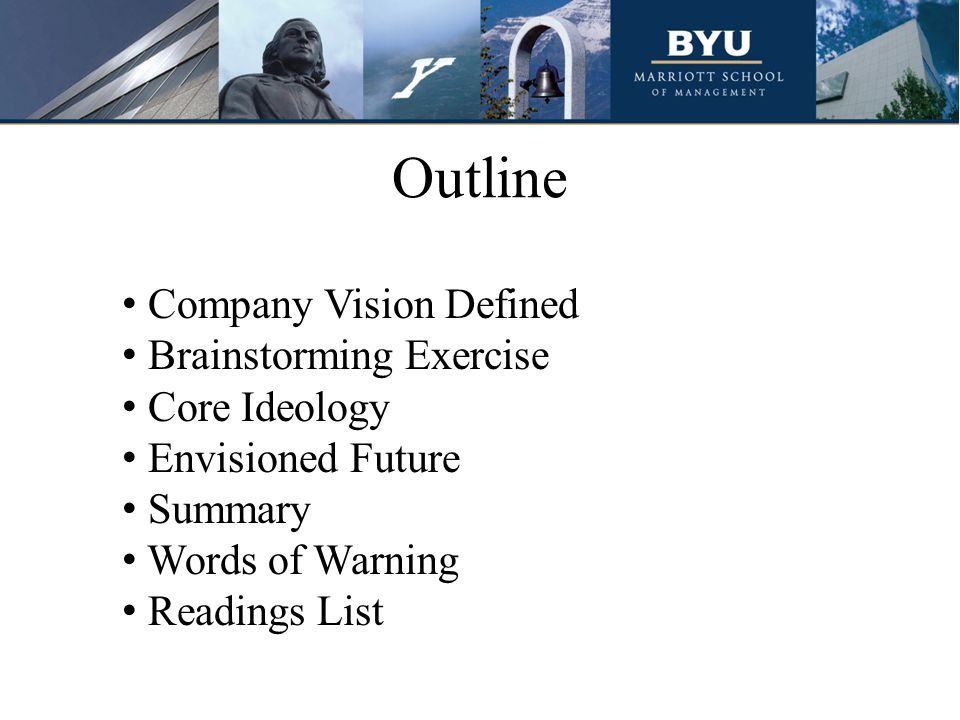 Outline Company Vision Defined Brainstorming Exercise Core Ideology Envisioned Future Summary Words of Warning Readings List