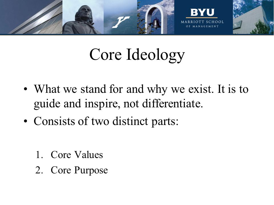 Core Ideology What we stand for and why we exist. It is to guide and inspire, not differentiate. Consists of two distinct parts: 1.Core Values 2.Core