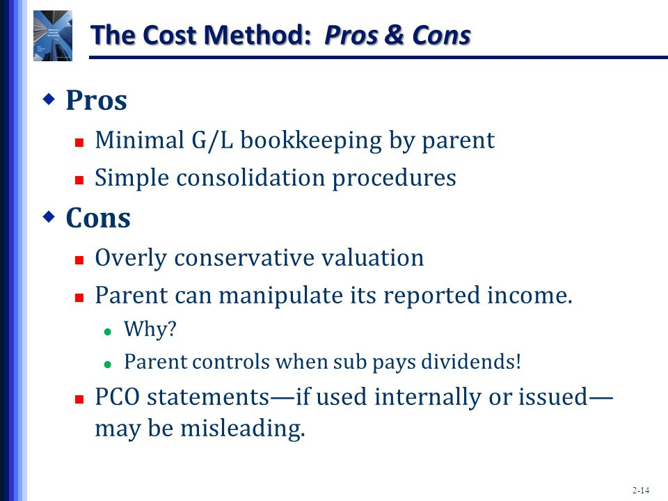 2-14 The Cost Method: Pros & Cons  Pros Minimal G/L bookkeeping by parent Simple consolidation procedures  Cons Overly conservative valuation Parent