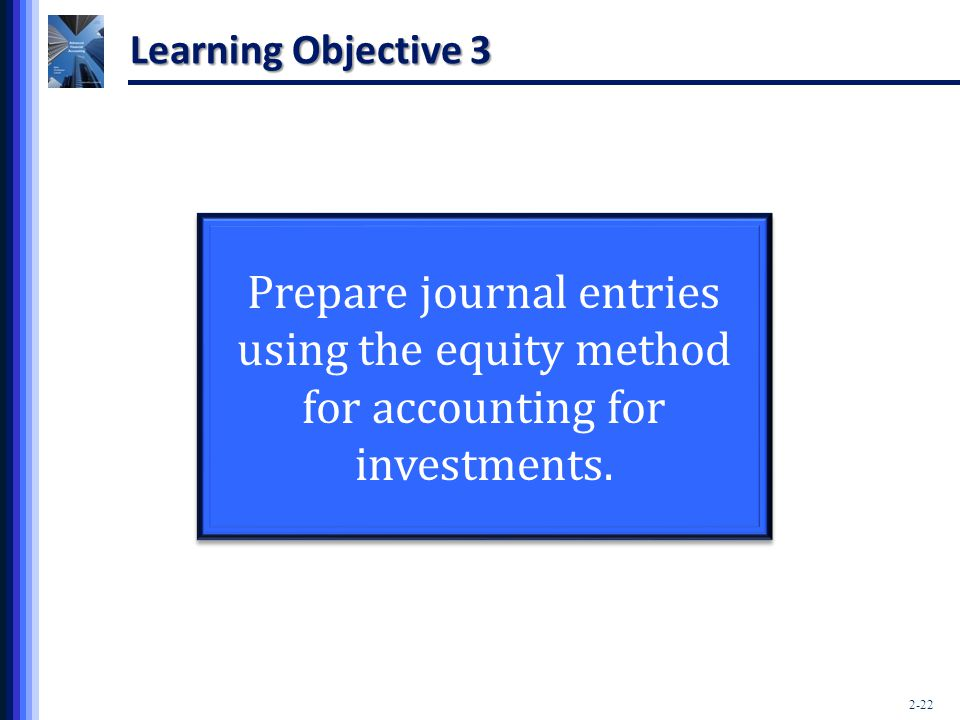 2-22 Learning Objective 3 Prepare journal entries using the equity method for accounting for investments.