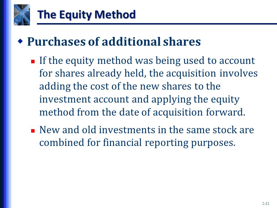 2-32 The Equity Method  Purchases of additional shares If the equity method was being used to account for shares already held, the acquisition involv