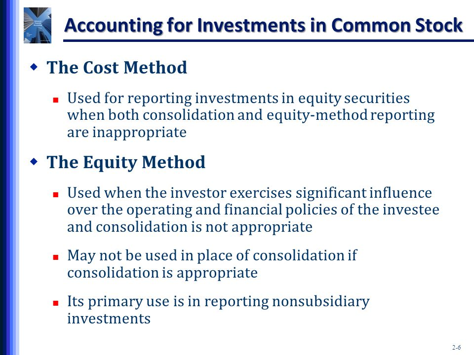 2-6 Accounting for Investments in Common Stock  The Cost Method Used for reporting investments in equity securities when both consolidation and equit