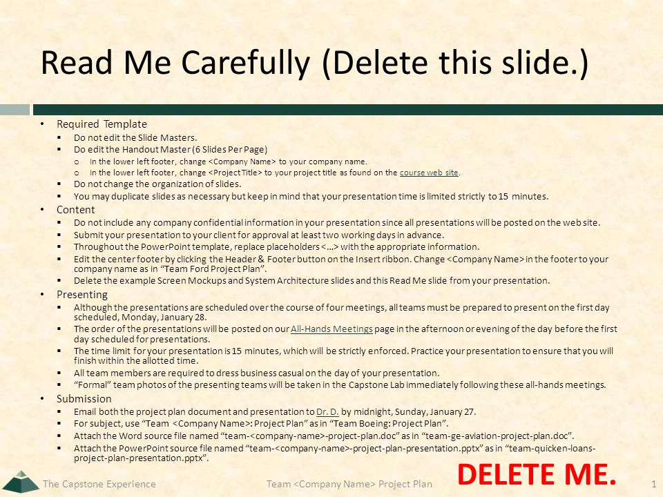 Read Me Carefully (Delete this slide.) Required Template  Do not edit the Slide Masters.  Do edit the Handout Master (6 Slides Per Page) o In the lo