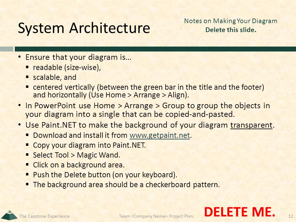 System Architecture Ensure that your diagram is…  readable (size-wise),  scalable, and  centered vertically (between the green bar in the title and