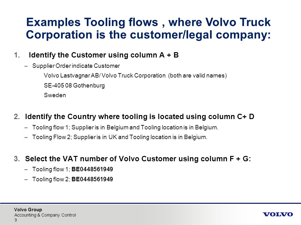 Volvo Group Accounting & Company Control Examples Tooling flows, where Volvo Truck Corporation is the customer/legal company: 1.Identify the Customer