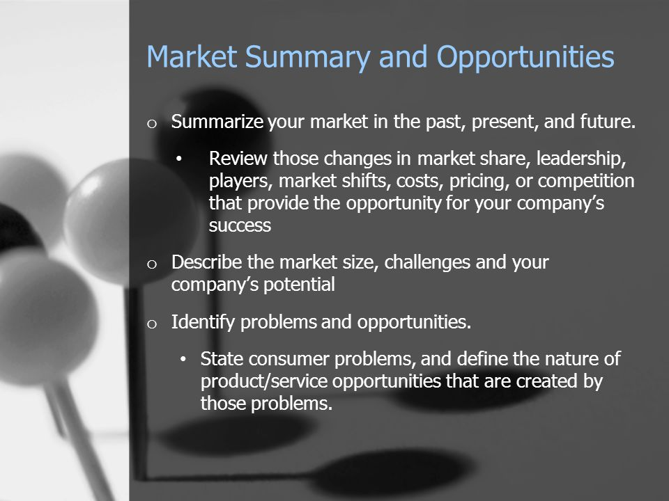 Market Summary and Opportunities o Summarize your market in the past, present, and future. Review those changes in market share, leadership, players,
