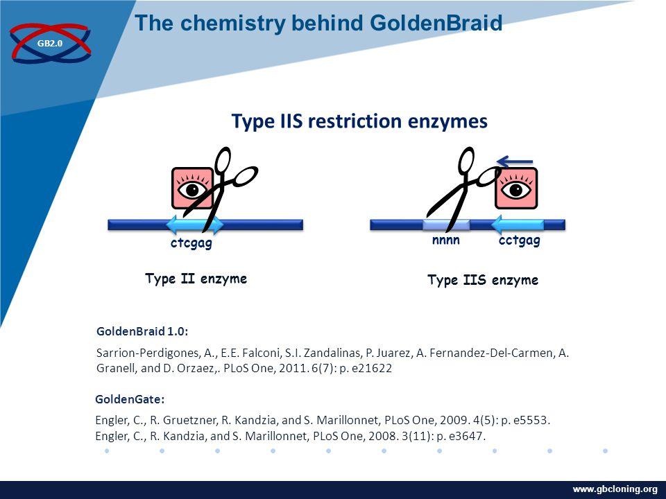www.company.com GB2.0 www.gbcloning.org Type IIS enzymeType II enzyme nnnn cctgag ctcgag Type IIS restriction enzymes GoldenGate: Engler, C., R.