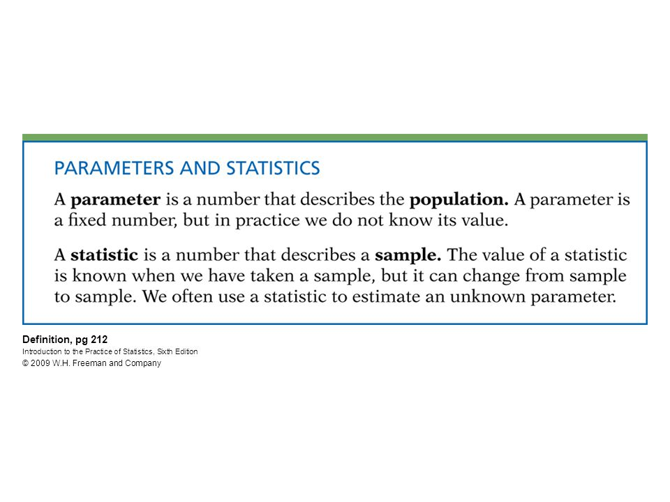 Definition, pg 212 Introduction to the Practice of Statistics, Sixth Edition © 2009 W.H.