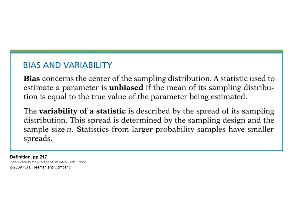 Definition, pg 217 Introduction to the Practice of Statistics, Sixth Edition © 2009 W.H.