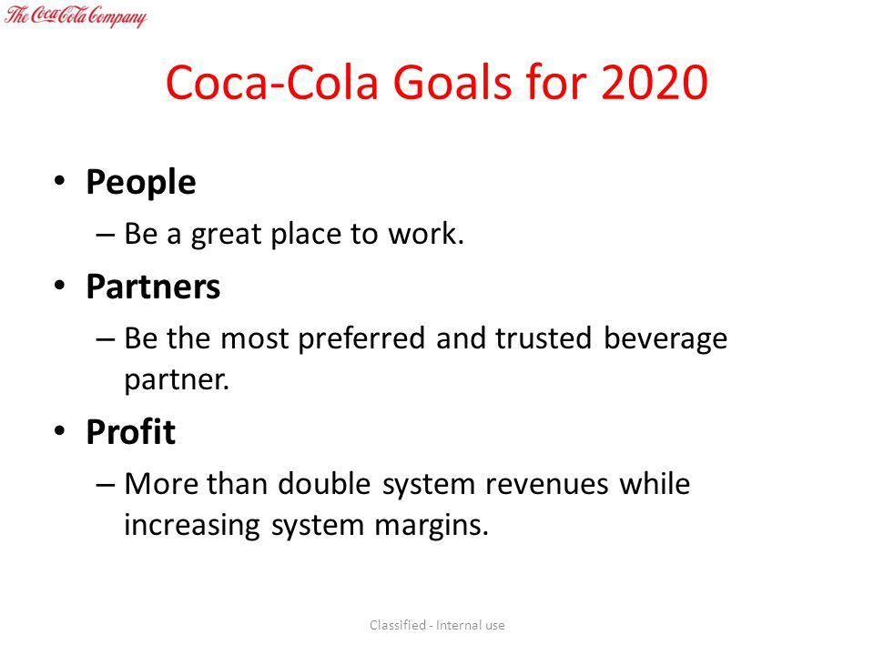 Coca-Cola Goals for 2020 People – Be a great place to work. Partners – Be the most preferred and trusted beverage partner. Profit – More than double s