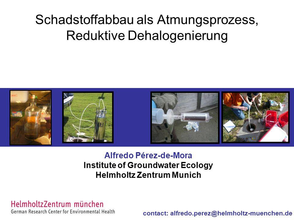 Schadstoffabbau als Atmungsprozess, Reduktive Dehalogenierung Alfredo Pérez-de-Mora Institute of Groundwater Ecology Helmholtz Zentrum Munich contact: alfredo.perez@helmholtz-muenchen.de
