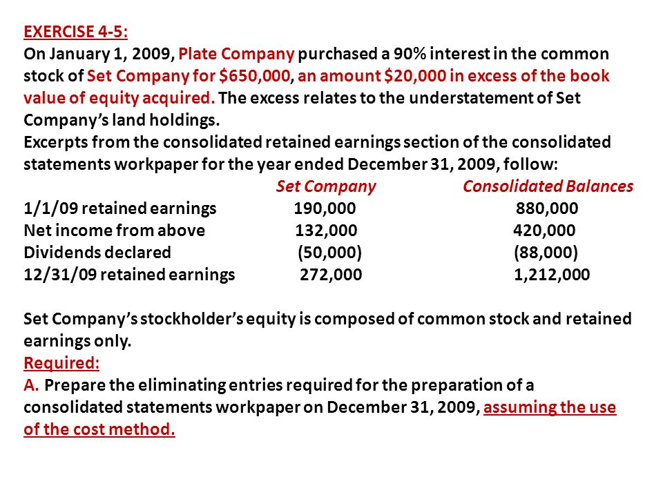 EXERCISE 4-5: On January 1, 2009, Plate Company purchased a 90% interest in the common stock of Set Company for $650,000, an amount $20,000 in excess