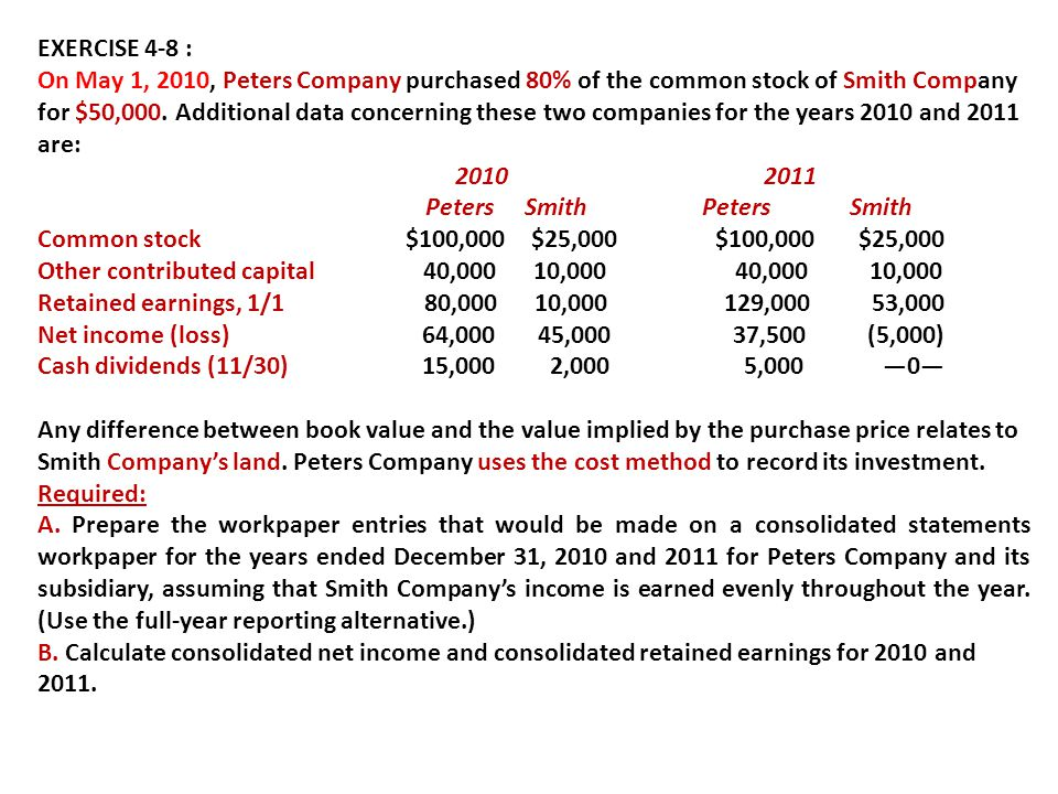 EXERCISE 4-8 : On May 1, 2010, Peters Company purchased 80% of the common stock of Smith Company for $50,000. Additional data concerning these two com