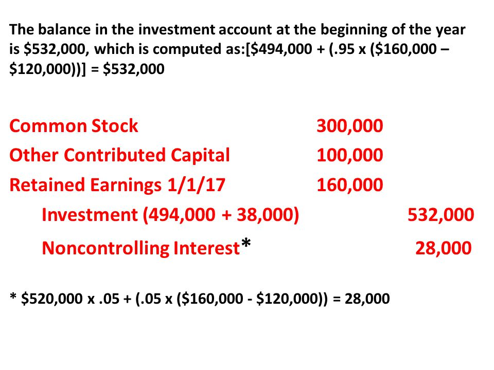 The balance in the investment account at the beginning of the year is $532,000, which is computed as:[$494,000 + (.95 x ($160,000 – $120,000))] = $532