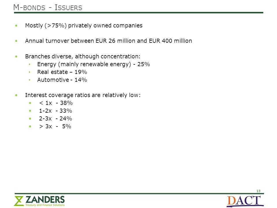 13 Mostly (>75%) privately owned companies Annual turnover between EUR 26 million and EUR 400 million Branches diverse, although concentration: Energy