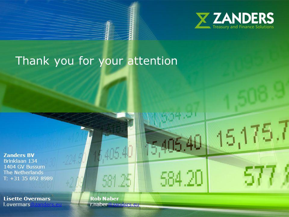 27 Thank you for your attention Zanders BV Brinklaan 134 1404 GV Bussum The Netherlands T: +31 35 692 8989 Lisette OvermarsRob Naber l.overmars@zander