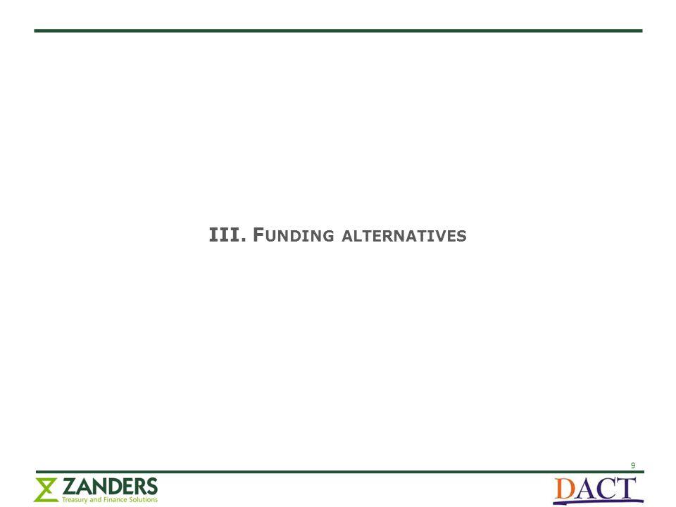 9 III. F UNDING ALTERNATIVES