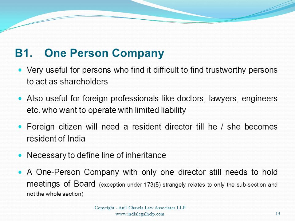 B1.One Person Company Very useful for persons who find it difficult to find trustworthy persons to act as shareholders Also useful for foreign profess