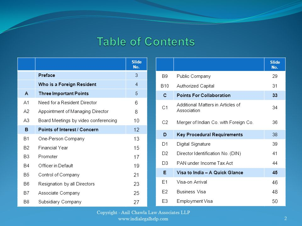 Copyright - Anil Chawla Law Associates LLP www.indialegalhelp.com2 Slide No.
