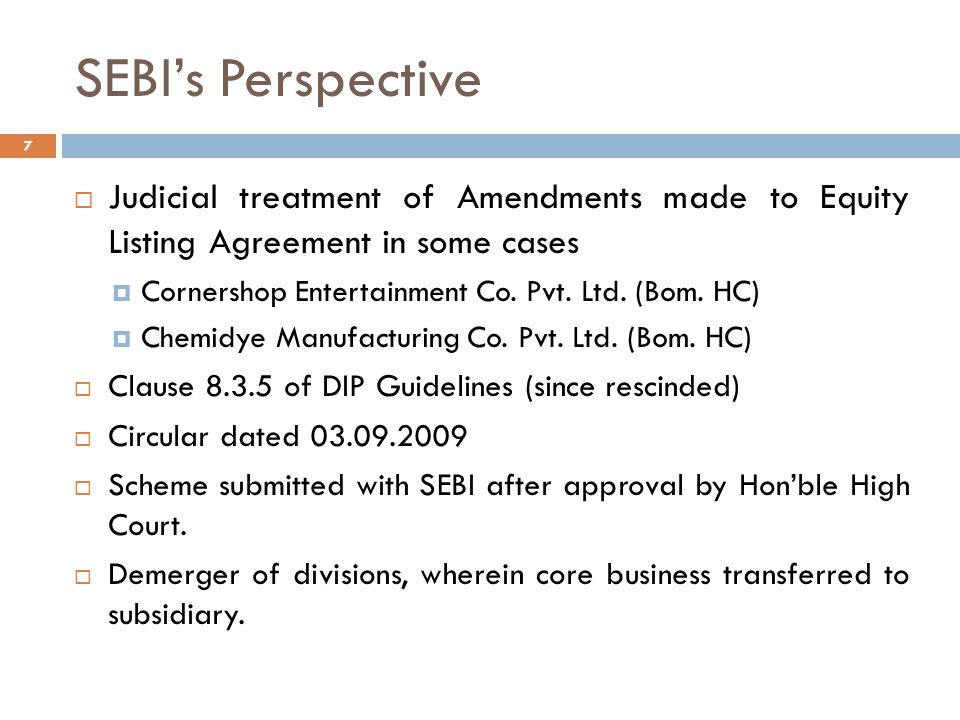 SEBI's Perspective 8  Related Party Transactions  Increase in promoter shareholding.
