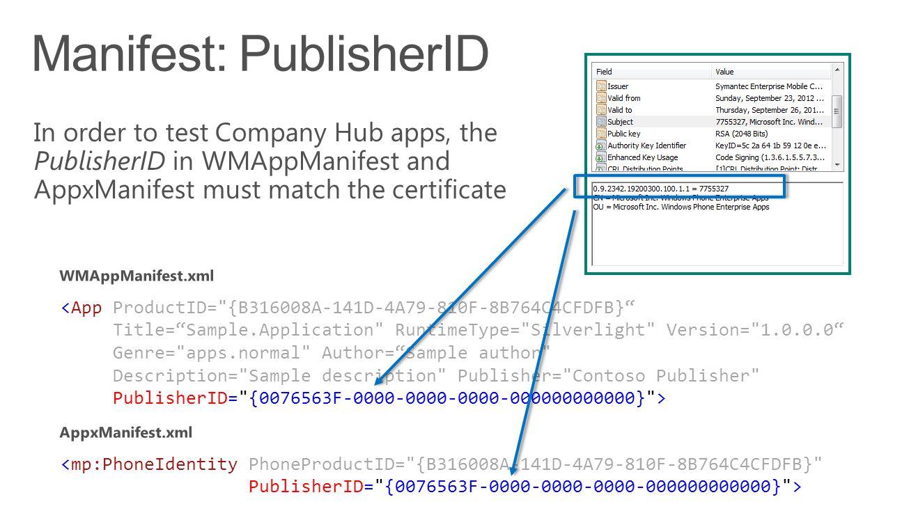 <App ProductID= {B316008A-141D-4A79-810F-8B764C4CFDFB} Title= Sample.Application RuntimeType= Silverlight Version= 1.0.0.0 Genre= apps.normal Author= Sample author Description= Sample description Publisher= Contoso Publisher PublisherID= {0076563F-0000-0000-0000-000000000000} > <mp:PhoneIdentity PhoneProductID= {B316008A-141D-4A79-810F-8B764C4CFDFB} PublisherID= {0076563F-0000-0000-0000-000000000000} >
