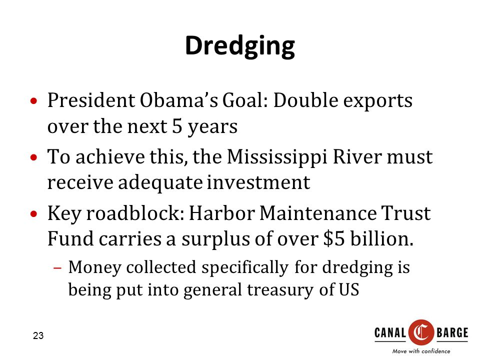 Dredging President Obama's Goal: Double exports over the next 5 years To achieve this, the Mississippi River must receive adequate investment Key roadblock: Harbor Maintenance Trust Fund carries a surplus of over $5 billion.