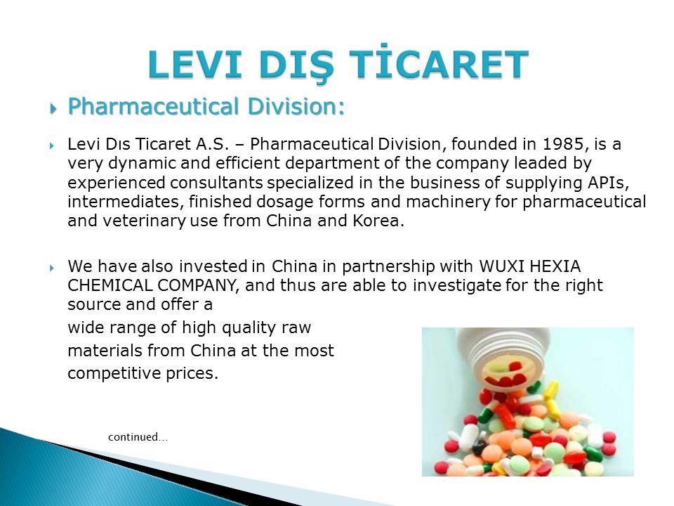  Pharmaceutical Division:  Levi Dıs Ticaret A.S.