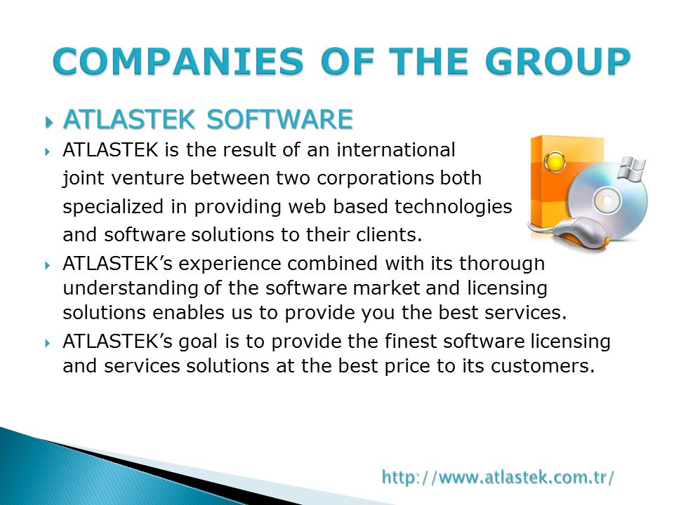  ATLASTEK SOFTWARE  ATLASTEK is the result of an international joint venture between two corporations both specialized in providing web based technologies and software solutions to their clients.