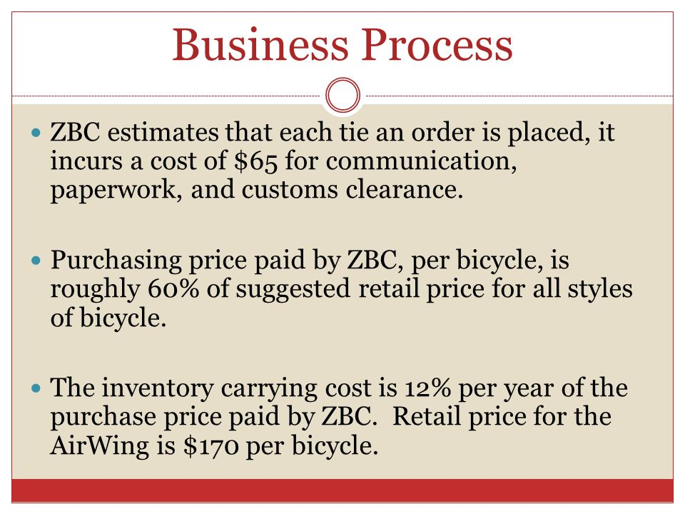 Business Process ZBC estimates that each tie an order is placed, it incurs a cost of $65 for communication, paperwork, and customs clearance. Purchasi
