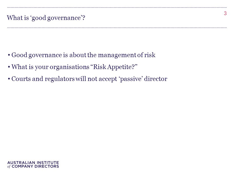What is 'good governance'.