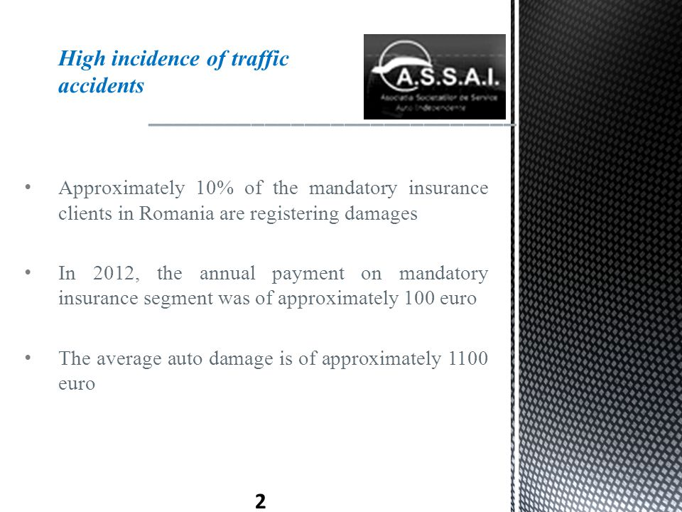 Approximately 10% of the mandatory insurance clients in Romania are registering damages In 2012, the annual payment on mandatory insurance segment was of approximately 100 euro The average auto damage is of approximately 1100 euro ____________________________ 2 High incidence of traffic accidents