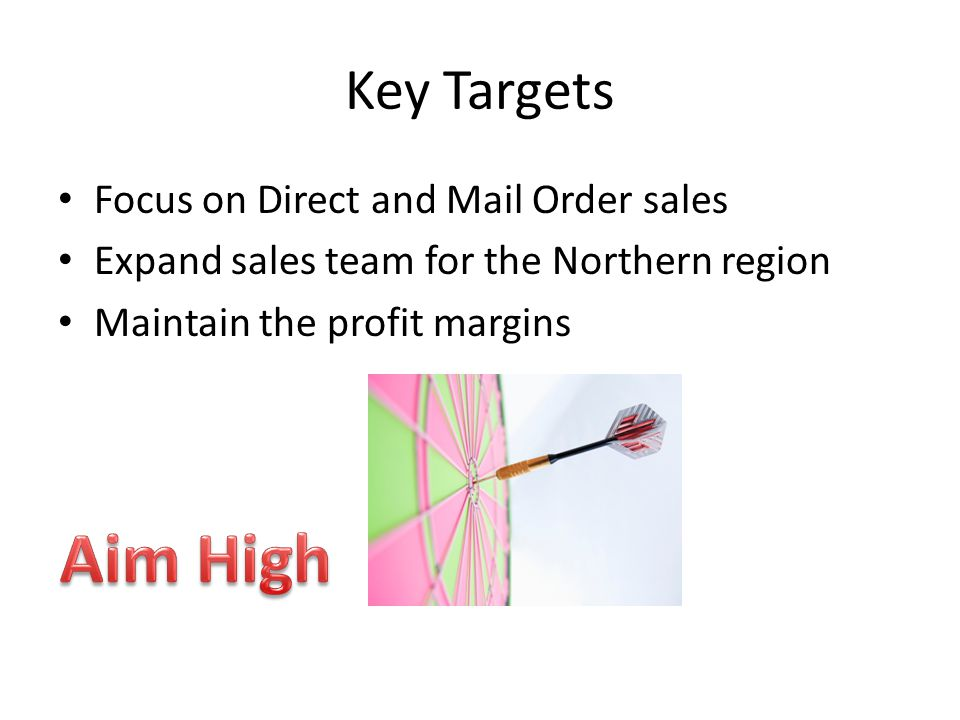 Key Targets Focus on Direct and Mail Order sales Expand sales team for the Northern region Maintain the profit margins