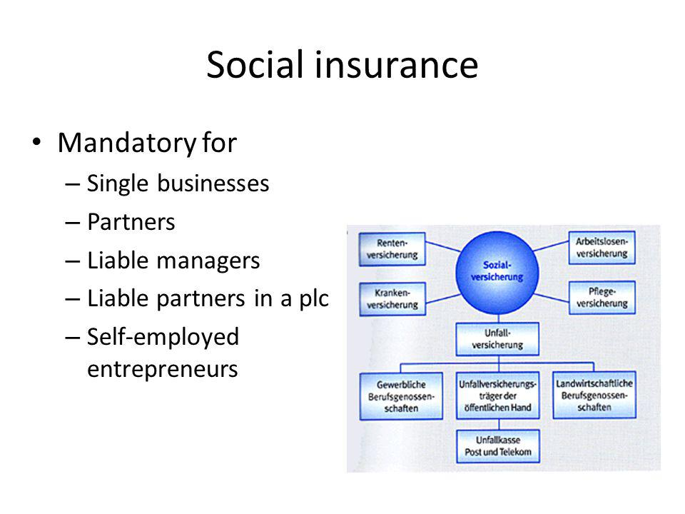 Social insurance Mandatory for – Single businesses – Partners – Liable managers – Liable partners in a plc – Self-employed entrepreneurs