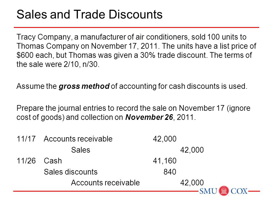 Sales and Trade Discounts Tracy Company, a manufacturer of air conditioners, sold 100 units to Thomas Company on November 17, 2011.
