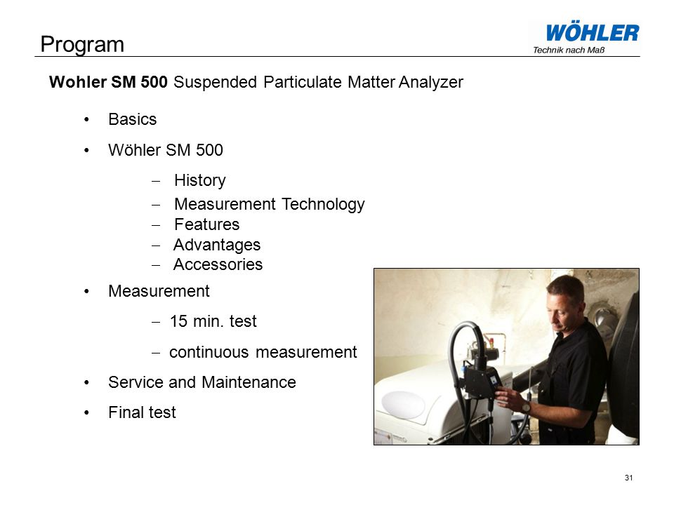 Program Basics Wöhler SM 500  History  Measurement Technology  Features  Advantages  Accessories Measurement  15 min.