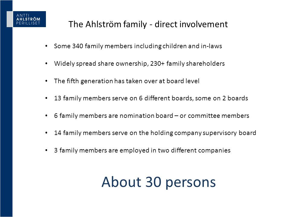 The Ahlström family - direct involvement Some 340 family members including children and in-laws Widely spread share ownership, 230+ family shareholder
