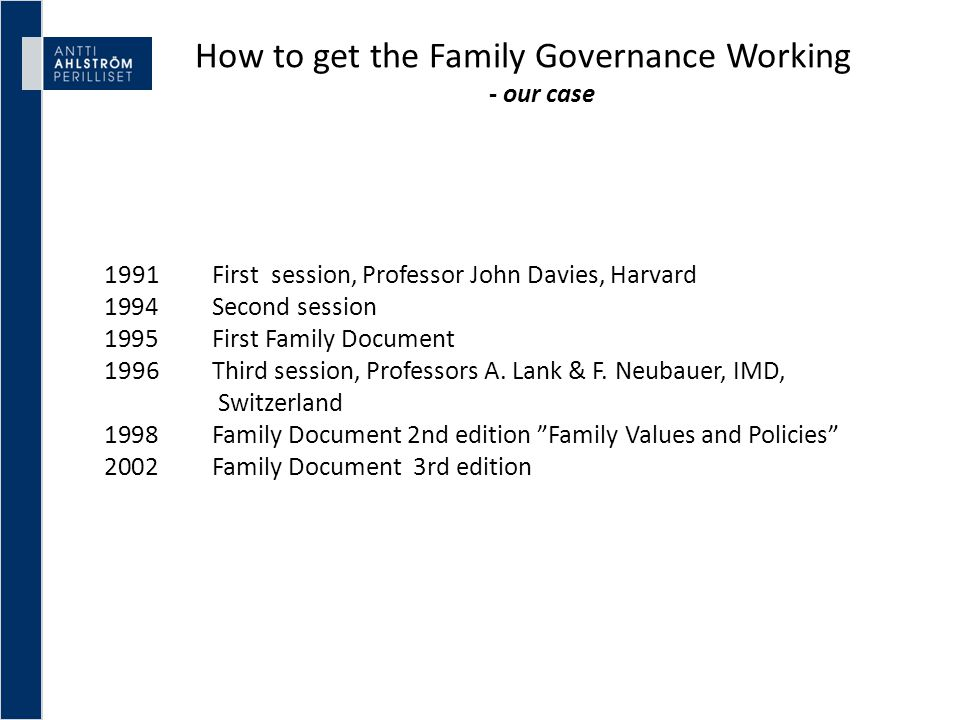 How to get the Family Governance Working - our case 1991 First session, Professor John Davies, Harvard 1994 Second session 1995 First Family Document 1996 Third session, Professors A.