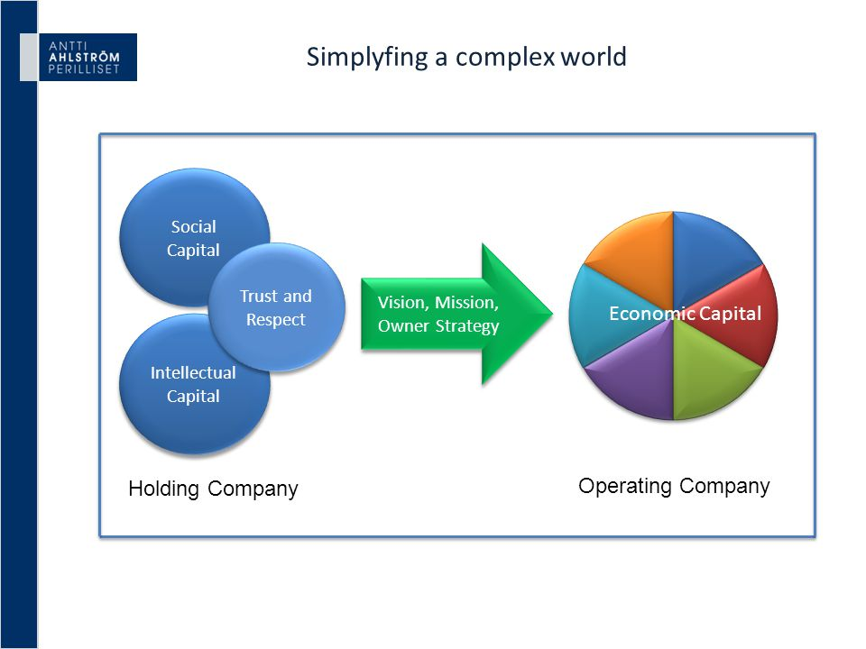 Simplyfing a complex world Social Capital Intellectual Capital Trust and Respect Vision, Mission, Owner Strategy Holding Company Operating Company