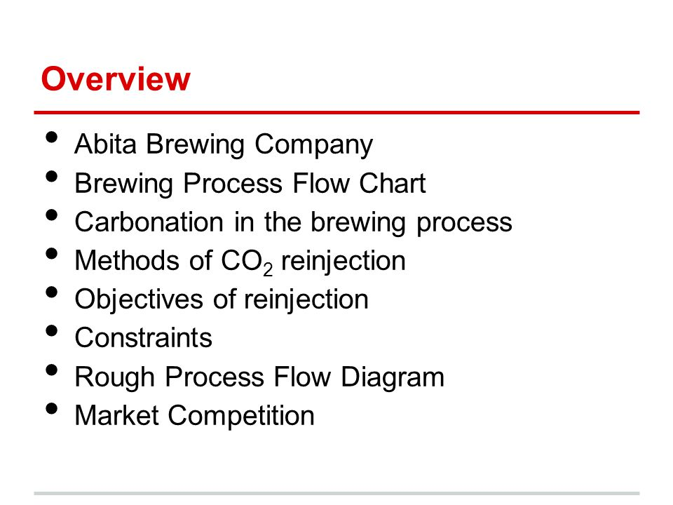 Overview Abita Brewing Company Brewing Process Flow Chart Carbonation in the brewing process Methods of CO 2 reinjection Objectives of reinjection Constraints Rough Process Flow Diagram Market Competition