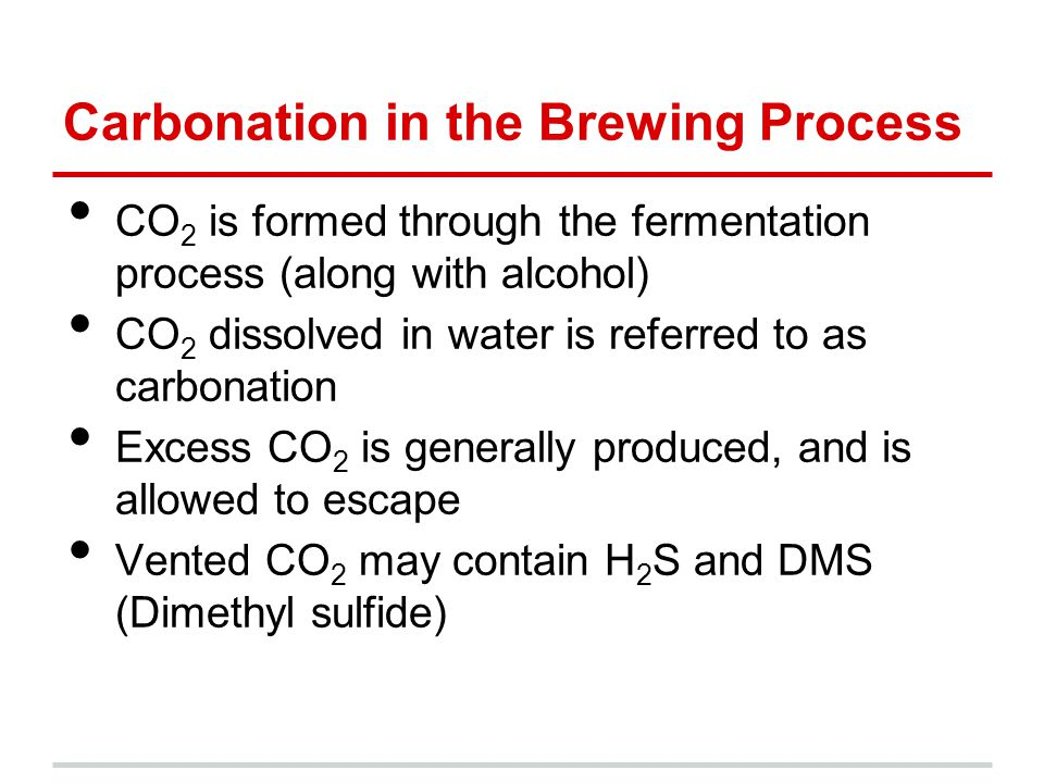 Outlets for CO 2 Reinjection Bottle-purging: Removes air to prevent oxidation, which affects flavor Carbonation of root beer: Most non-alcoholic root beer (like Abita's) is entirely carbonated via forced carbonation Carbonation of beer: Many beers do not contain the desired level of carbonation after fermentation (equilibrium controlled)