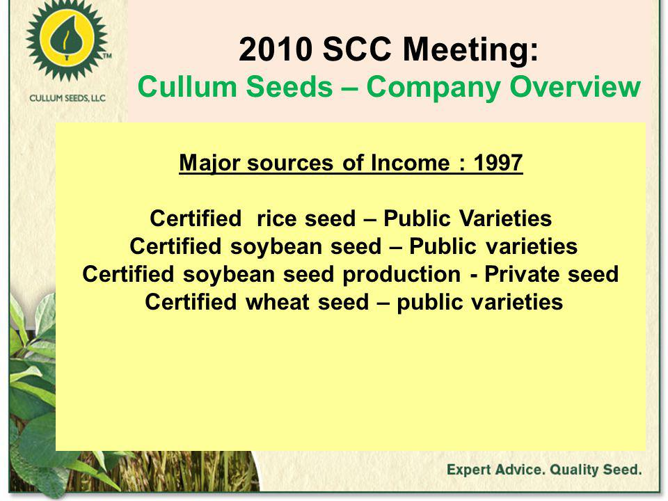 2010 SCC Meeting: Cullum Seeds – Company Overview Major sources of Income : 1997 Certified rice seed – Public Varieties Certified soybean seed – Public varieties Certified soybean seed production - Private seed Certified wheat seed – public varieties