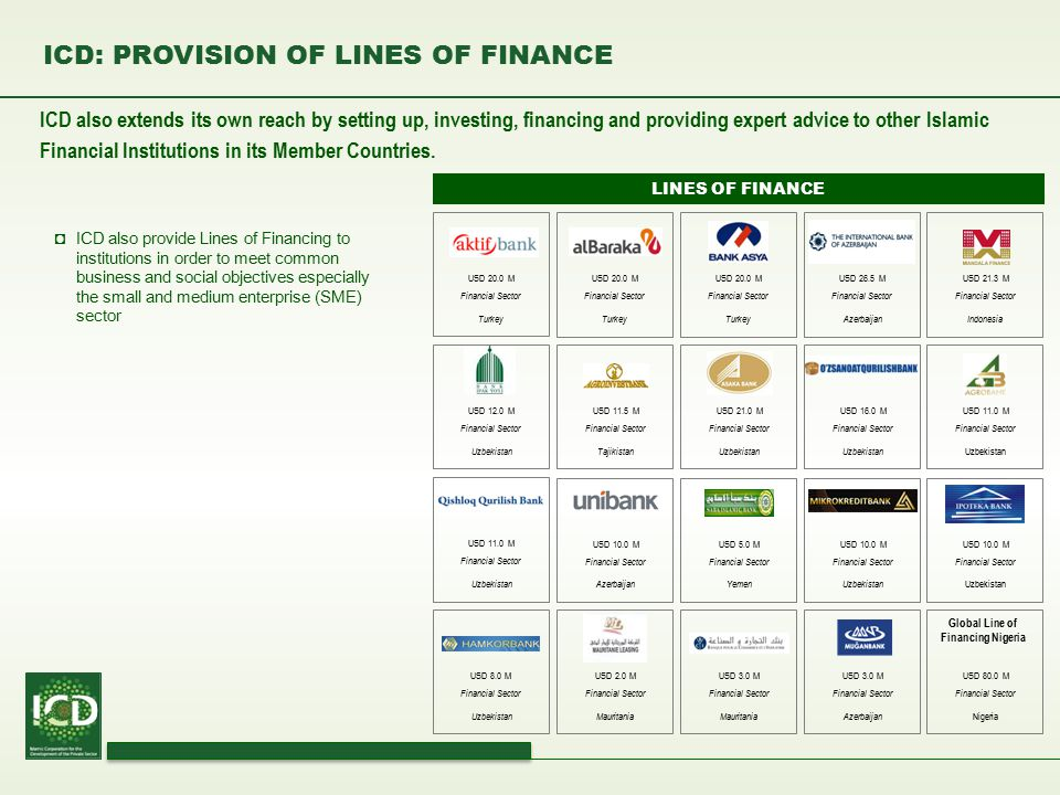 ICD: PROVISION OF LINES OF FINANCE ICD also extends its own reach by setting up, investing, financing and providing expert advice to other Islamic Fin