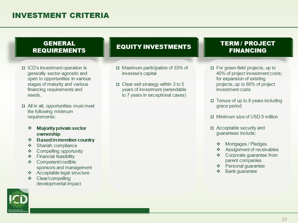 23 INVESTMENT CRITERIA EQUITY INVESTMENTS TERM / PROJECT FINANCING GENERAL REQUIREMENTS ◘ICD's investment operation is generally sector-agnostic and o