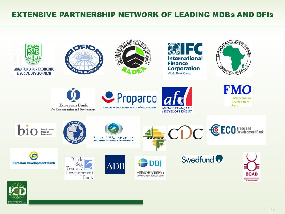 27 EXTENSIVE PARTNERSHIP NETWORK OF LEADING MDBs AND DFIs