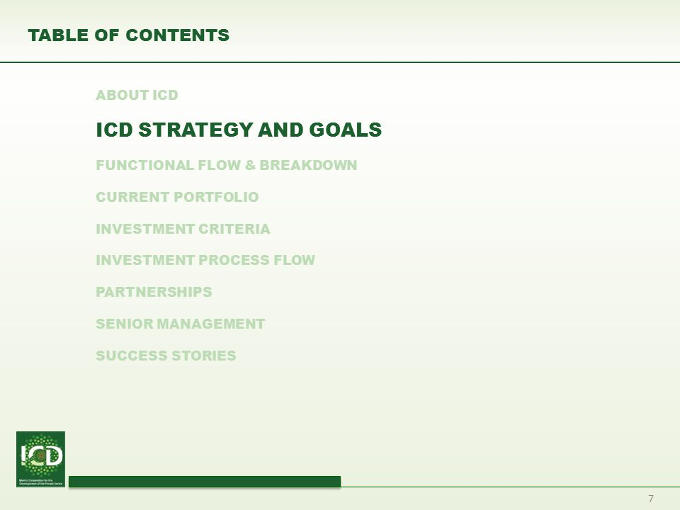 7 TABLE OF CONTENTS ABOUT ICD ICD STRATEGY AND GOALS FUNCTIONAL FLOW & BREAKDOWN CURRENT PORTFOLIO INVESTMENT CRITERIA INVESTMENT PROCESS FLOW PARTNER