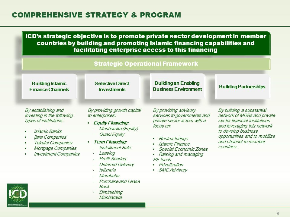 8 COMPREHENSIVE STRATEGY & PROGRAM By establishing and investing in the following types of institutions: Islamic Banks Ijara Companies Takaful Compani