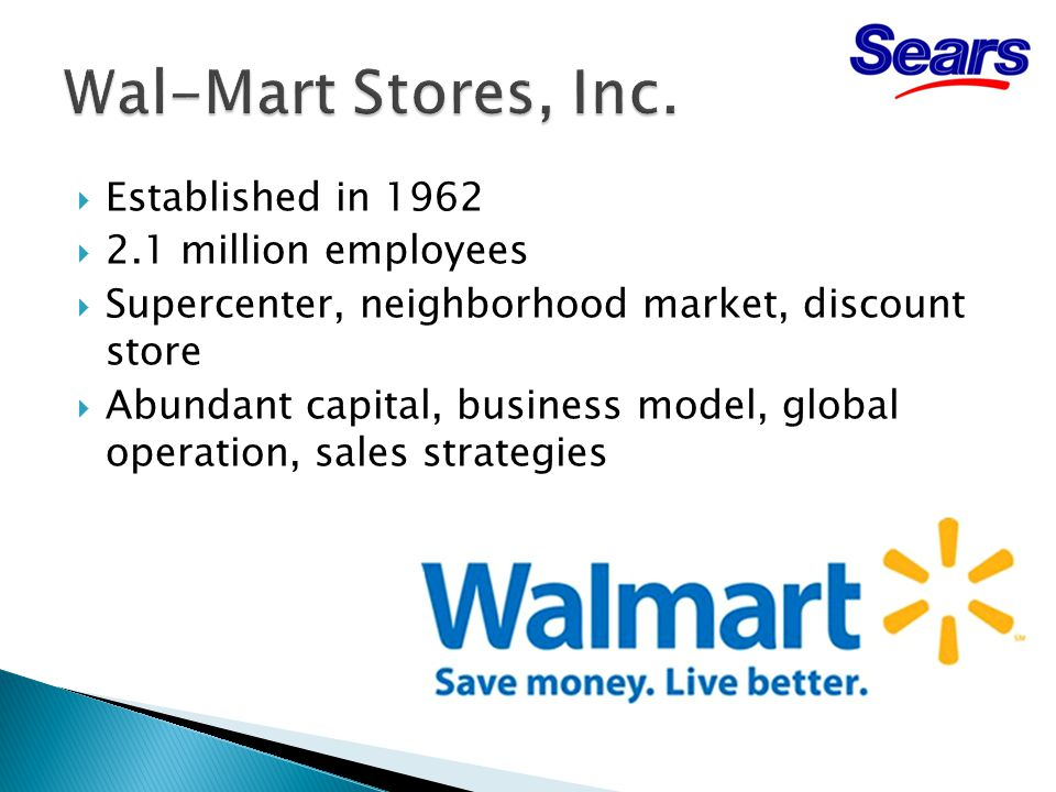  Established in 1962  2.1 million employees  Supercenter, neighborhood market, discount store  Abundant capital, business model, global operation, sales strategies