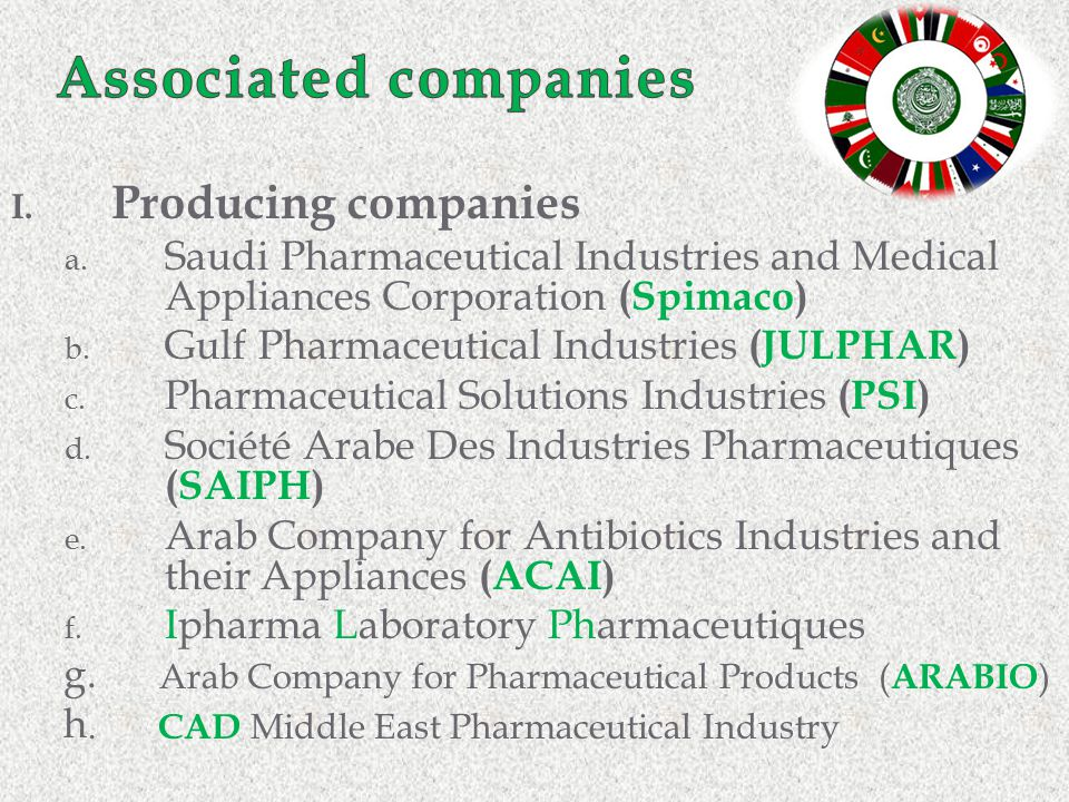 I. Producing companies a. Saudi Pharmaceutical Industries and Medical Appliances Corporation (Spimaco) b. Gulf Pharmaceutical Industries (JULPHAR) c.